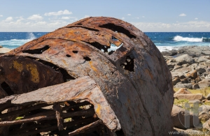 Rusting boiler from the shipwreck of the SS Monaro. Eurobodalla national park. NSW. Australia