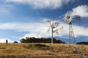 A rural landscape with windmill. Near Oberon. New South Wales. Australia.