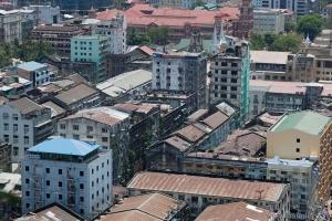 Rangoon downtown. Bird's eye view. Yangon. Myanmar.