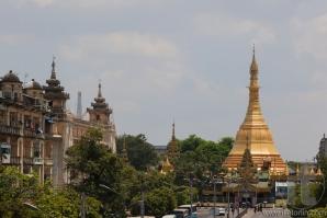View to Sule pagoda from Sule Paya Road. Yangon. Myanmar.