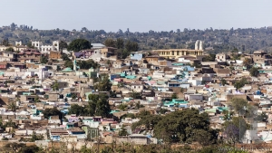 Bird eye view of ancient walled city of Jugol. Harar. Ethiopia.