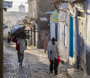 HARAR, ETHIOPIA - DECEMBER 23, 2013: Unidentified people of ancient walled city of Jugol in their morning routine activities that almost unchanged in more than four hundred years.