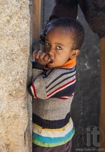 HARAR, ETHIOPIA - DECEMBER 24, 2013: Unidentified boy posing in