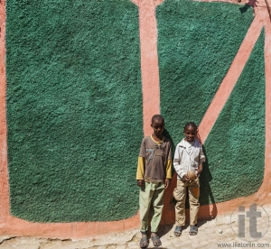 HARAR, ETHIOPIA - DECEMBER 24, 2013: Unidentified children posin