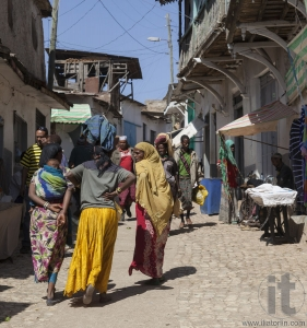 HARAR, ETHIOPIA - DECEMBER 24, 2013: Unidentified people of anci