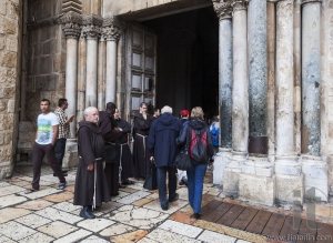 Franciscan Fathers near Holy Sepulchre Church. Jerusalem. Israel