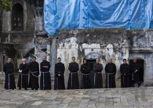 Franciscan Fathers on Friday via Dolorosa procession. Jerusalem.