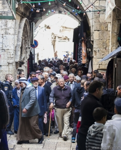 People return from Friday prayer at al aqsa mosque. Old Jerusale
