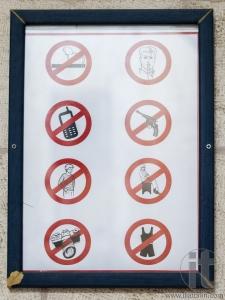 Sign at the entrance of Saint James Cathedral. Jerusalem, Israel