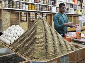 Spices shop on Beit HaBad Street. Old Jerusalem. Israel.