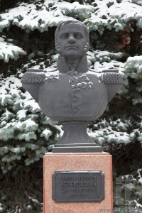 Bust (sculpture) of colonel Neverovsky. Smolensk. Russia.
