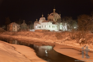 Cathedral of the Annunciation and river gzhat at night. Gagarin (former Gzhatsk). Russia.