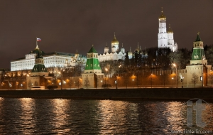Moscow Kremlin and the Moskva River at night. Moscow. Russia