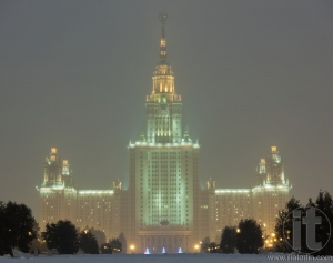 Moscow State University in haavy snowfall. Moscow. Russia.