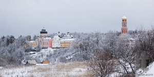 Orthodox monastery Davidova Pustin and Assumption church of the Blessed Virgin Mary in winter. Chekhov. Moscow region. Russia.
