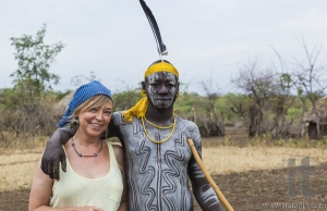 European woman and man from Mursi tribe in Mirobey village. Mago