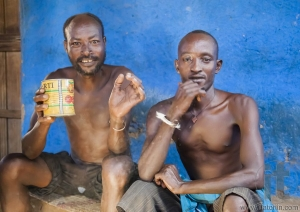 Men from Dassanech tribe drink in village bar. Omorato, Ethiopia
