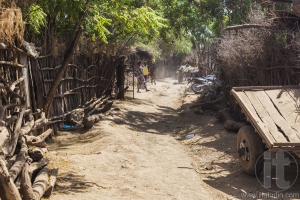Street in traditional village of Dassanech tribe. Omorato, Ethio