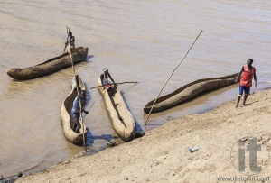 Traditional dassanech boats on the Omo river. Omorato,  Ethiopia