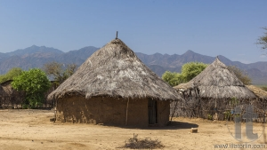 Traditional tsemay houses. Weita. Omo Valley. Ethiopia.