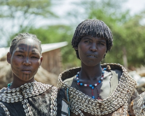 Traditionally dressed women from Tsemay tribe. Weita. Omo Valley. Ethiopia.