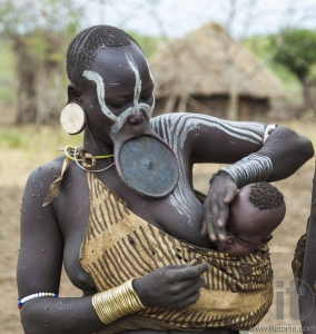 Woman from Mursi tribe in Mirobey village. Mago National Park. O