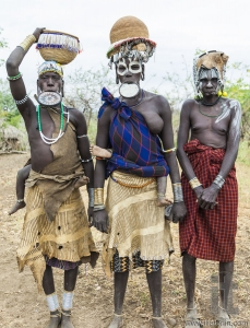 Women from Mursi tribe in Mirobey village. Mago National Park. O