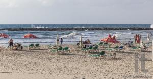 Banana Beach in October. Tel Aviv, Israel